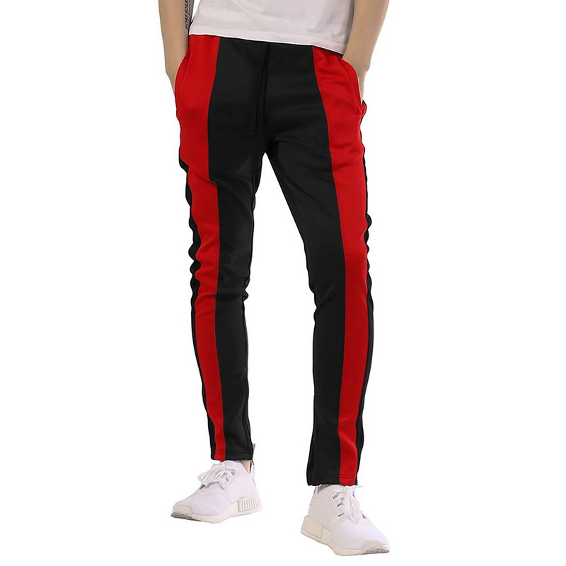 Laamei Men's Patchwork Trousers Male Hip Hop Side Zipper Casual Fashion Elastic Waist Contrast Color Tie Street Men Pant
