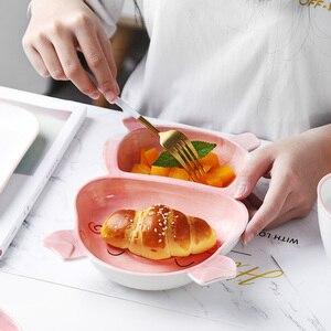 Image 3 - Plateau de rangement en céramique créatif forme de bande dessinée restaurant plateau de service Dessert plat assiette de fruits meilleurs plateaux daffichage pour la décoration intérieure