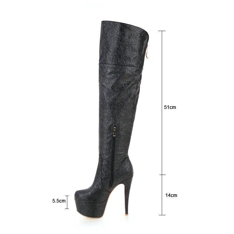 Sobre Zapatos Moda Invierno Super Nocturno Alto Plataforma Rodilla 14 Tacón De Cm Negro Sexy Pu Cuero Mujer oro Botas plata Thin Club La Rxemzg xvRfU