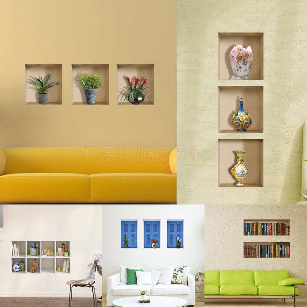 HOT SALE! Various3D Room Pictures Unframed Wall Stickers Wall Decals Home Living Room Decor 5Styles