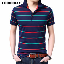COODRONY 2019 Spring Summer Business Casual Short Sleeve T Shirt Men Fashion Turn-down Collar Tshirt Cotton T-Shirt S95122