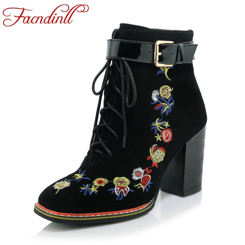 FACNDINLL shoes genuine leather women new autumn winter ankle boots high heels china style shoes woman dress party riding boots facndinll shoes 2017 genuine leather women ankle boots sexy thick high heels pointed toe lace up shoes woman dress party shoes
