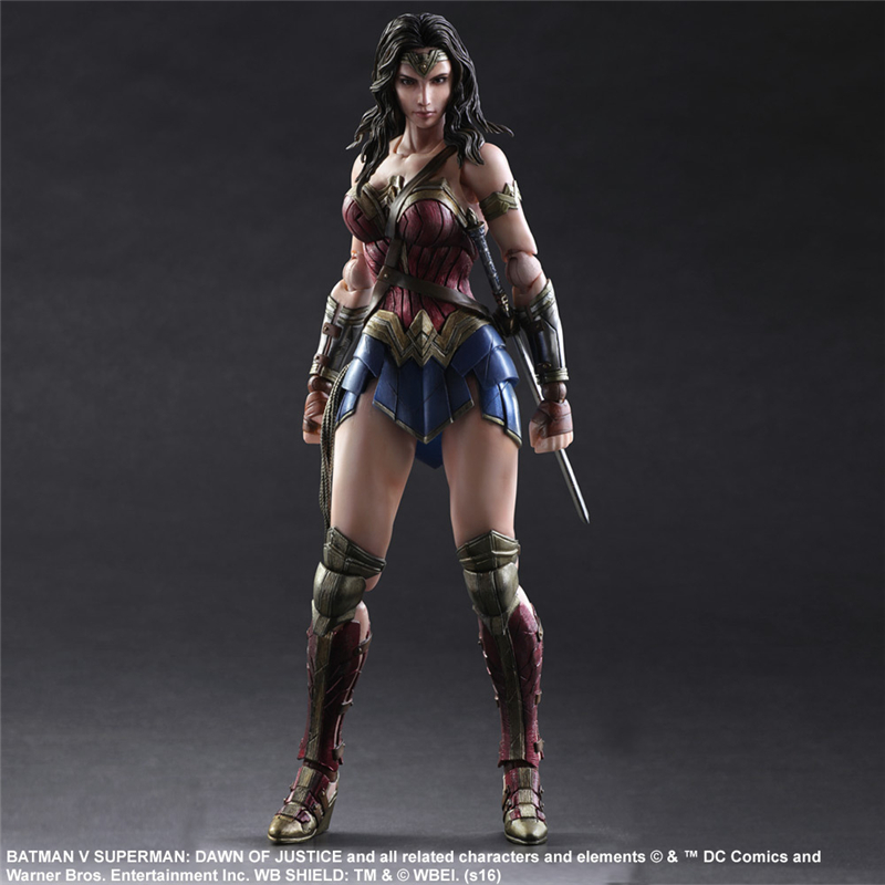 J Ghee Play Arts KAI Batman Superman Dawn Of Justice No.4 Wonder Woman PVC Action Figure Decoration Model Toy 26cm xinduplan dc comics play arts kai justice league batman reloading dawn justice action figure toys 25cm collection model 0637