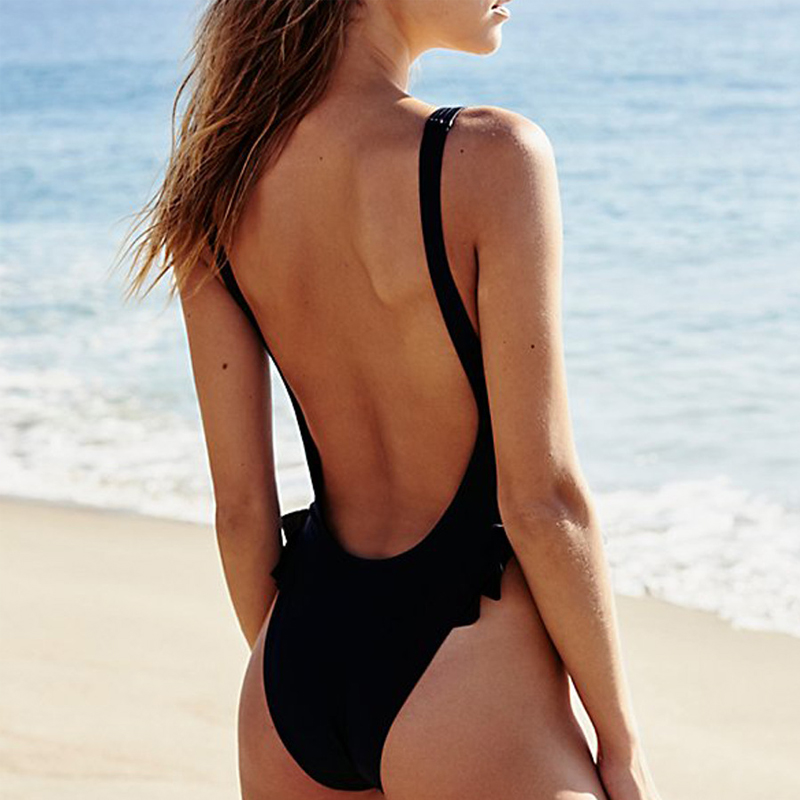 Sports & Entertainment Systematic High Leg Ruffle Bather One Piece Swimsuit Solid Black Trikini Swimwear Female One Piece Bathing Suit Women High Waist Swimsuit Be Novel In Design
