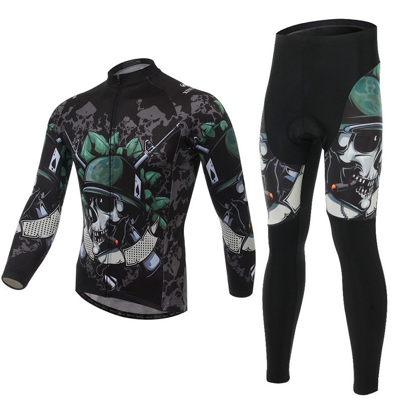 XINTOWN Skeleton Cycling Jersey Thermal Fleece Warm Windproof Winter Bike Clothing Bicycle Clothes Long GEL Pad Riding Wearing
