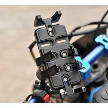 Soporte de empuje para motocicleta soporte Universal para teléfono o Radio con agarre para dedo (negro)