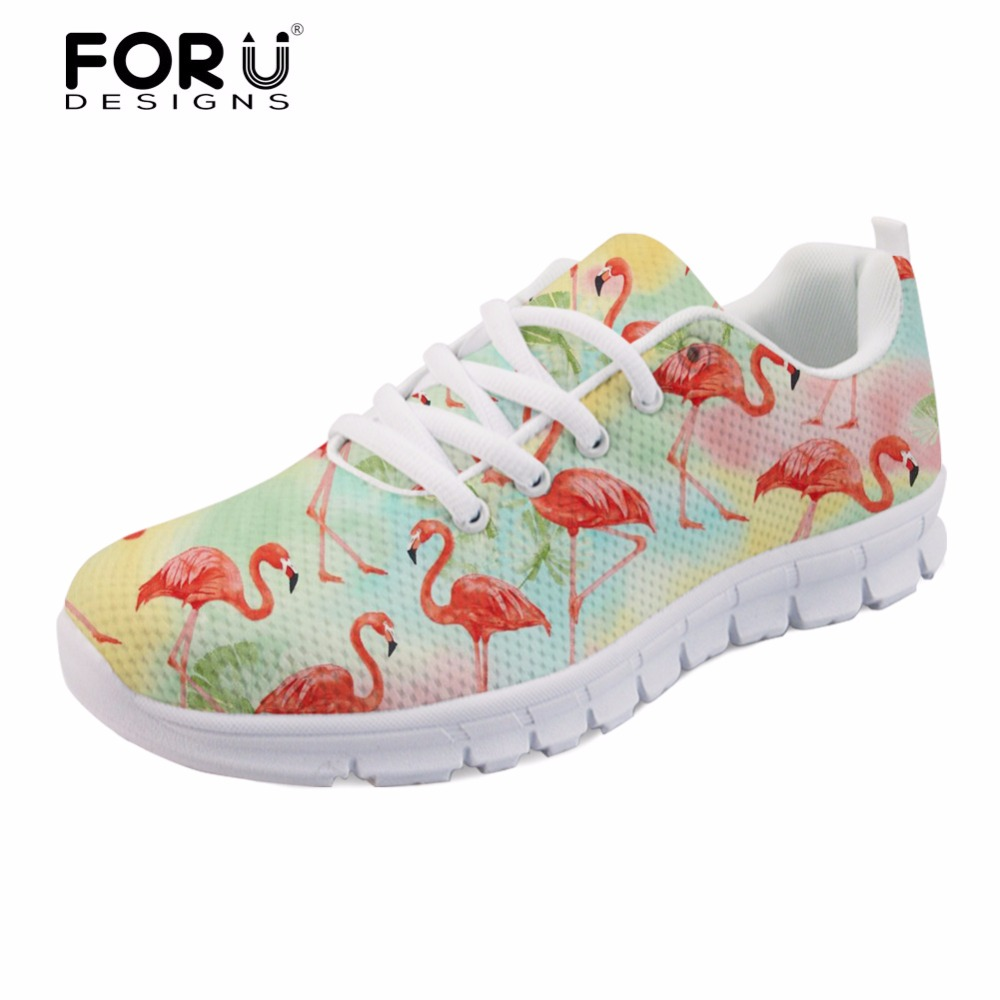 FORUDESIGNS 3D Tropical Flamingos Pattern Spring Summer Women Sneakers Flats Casual Lace-up Female Mesh Shoes Woman Walking Shoe instantarts women flats emoji face smile pattern summer air mesh beach flat shoes for youth girls mujer casual light sneakers