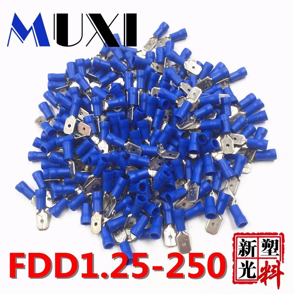 FDD1.25-250 macho isolou o terminal bonde do friso para o conector 0.5-1.5mm2 do fio do cabo dos conectores 100 unidades/pacote azul