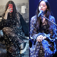 Nana Star of The Same Hepburn Wind Shredded Flower Dress Women Xia New Korean Version Fashion Chiffon V Collar