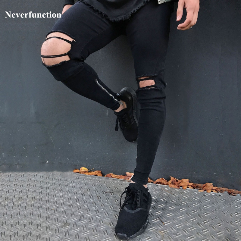 Multiple colour men designer Ripped jeans black blue white Khaki male Torn biker jeans skinny motorcycle denim joggers pants