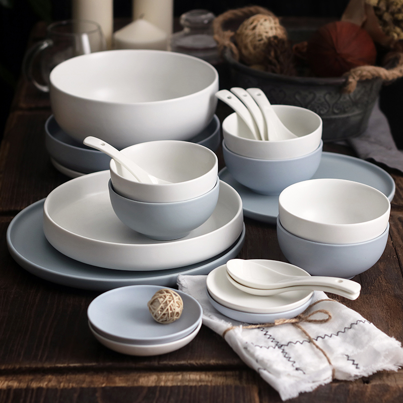 Japanese style Brief Ceramic Porcelain Steak Plate Soup Deep Dish Seasoning Dish Rice Noodle Bowl for Dinner Home Tableware Set