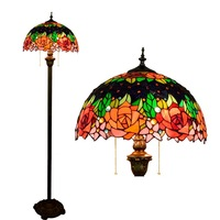 16inch Tiffany red rose flower Stained Glass floor lamp E27 110 240V for Home Parlor Dining bed Room