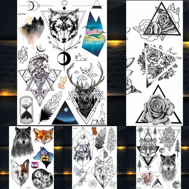 b4007e0b4 New Dreamcatcher Wolf Totem Temporary Tattoo Stickers For Women Body Art  Fake Flash Tattoo Dream Catcher Wings Tatoo Men Arm Leg