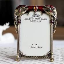 6 inch metal frame diamond pearl elephant photo home study office decoration