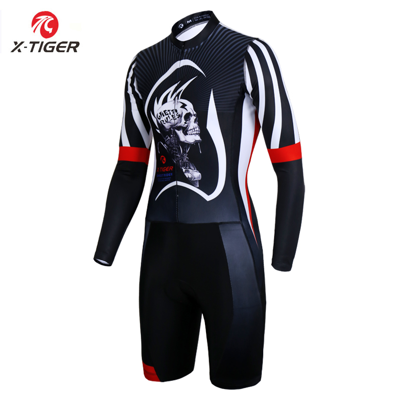 X Tiger Mans Cycling Jerseys with Compression Sponge Padded Ropa De Ciclismo Long Sleeve Triathlon for
