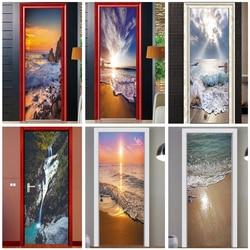 Kreatywny widok 3D drzwi naklejki dekoracje dla domu DIY naklejki samoprzylepna tapeta na drzwi wodoodporny Mural do renowacji drzwi do sypialni