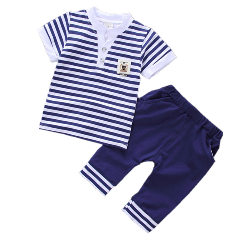 Striped Baby Boy Clothes Summer 2018 New V-neck Children Clothes Cotton Kids Baby Boy Clothing Tshirts+Short Pants Kids Suit Set summer boys handsome gentleman suits 2018 summer new baby boy clothes set 1 3 years striped summer children clothing