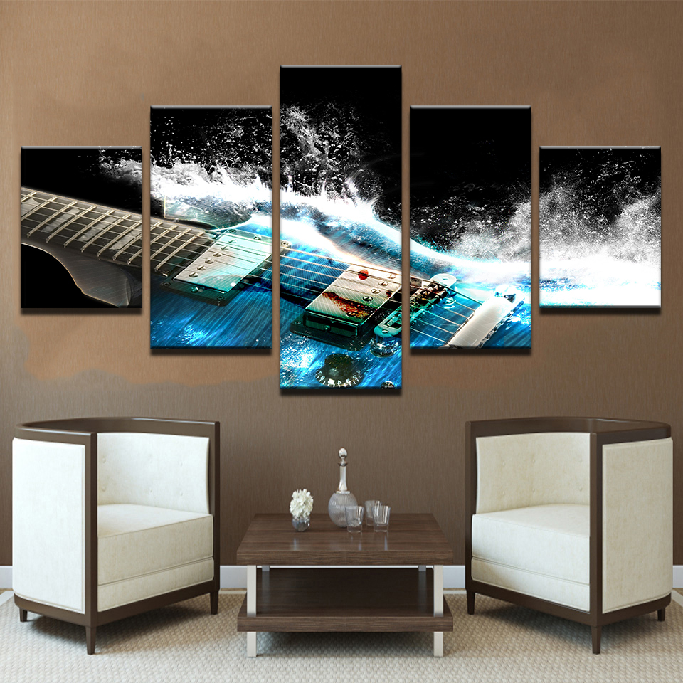 US $9.05 45% OFF|Canvas wall art picture home decor living room 5 pieces  abstract blue guitar painting print music poster frame-in Painting & ...