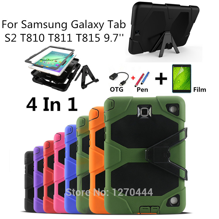 For Samsung Galaxy Tab S2 9.7 SM-T810 T810 T811 T813 T815 Tablet Heavy Duty Rugged Impact Hybrid Case Kickstand Protective Cover tire style tough rugged dual layer hybrid hard kickstand duty armor case for samsung galaxy tab a 10 1 2016 t580 tablet cover