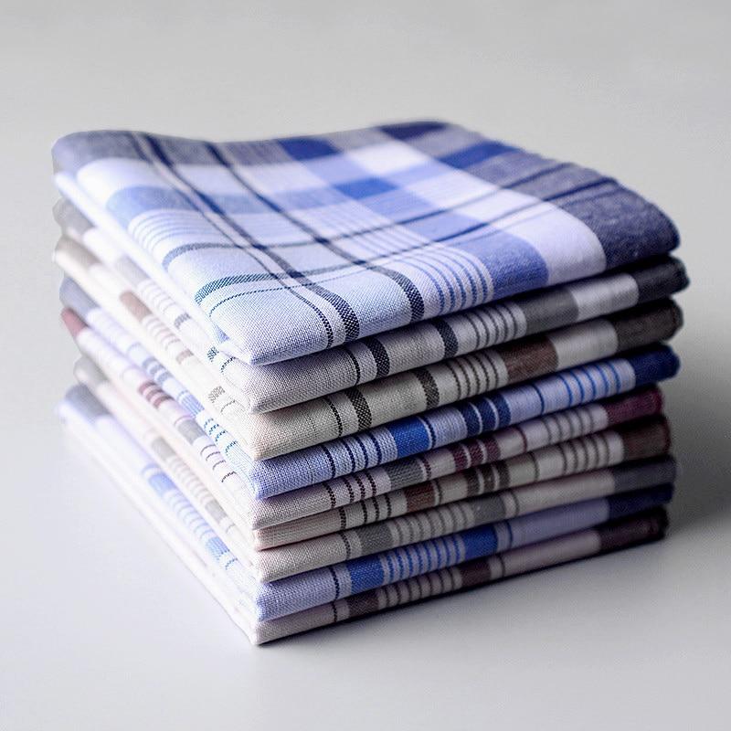 10pcs/lot 38*38cm Striped Plaid Men Party Handkerchief Casual Male Pocket Square Cotton Fabric Hanky Wendding Handkerchiefs
