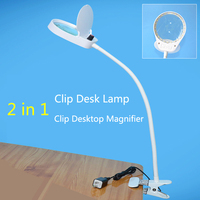 USB Plug Magnifier Clip on Table Top Desk LED Lamp Reading 3x 10x Large Lens Magnifying Glass with LED table lamp