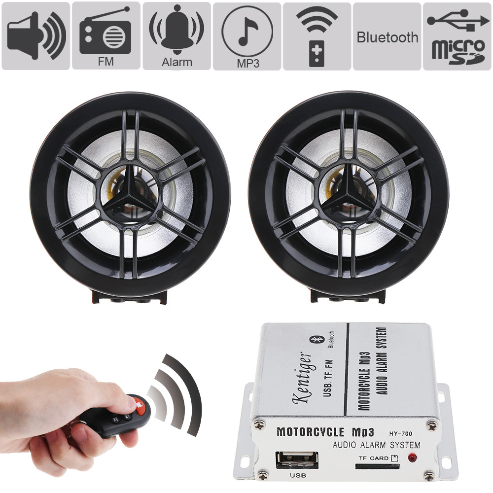 HIFI Bluetooth Waterproof Anti-theft Motorcycle Audio Alarm Sound System MP3 FM Radio Player Stereo Speakers Music Amplifier motorcycle mt481 mp3 player waterproof audio radio sound music player anti theft alarm screen display support fm usb