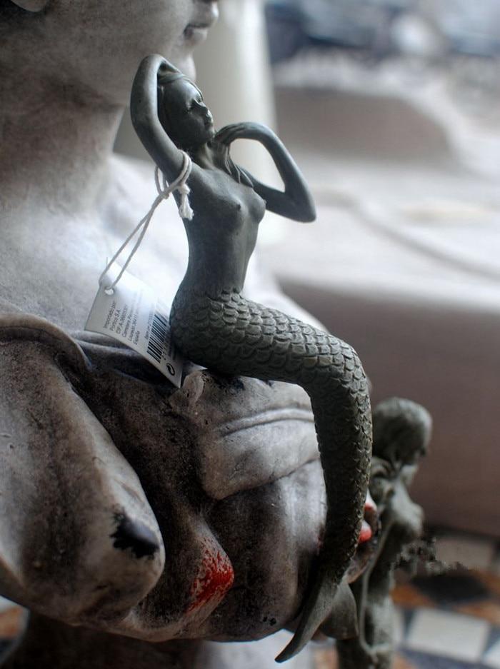 Vintage Resin Mermaid Garden Decoration Outdoor Miniature Fairy Ornaments