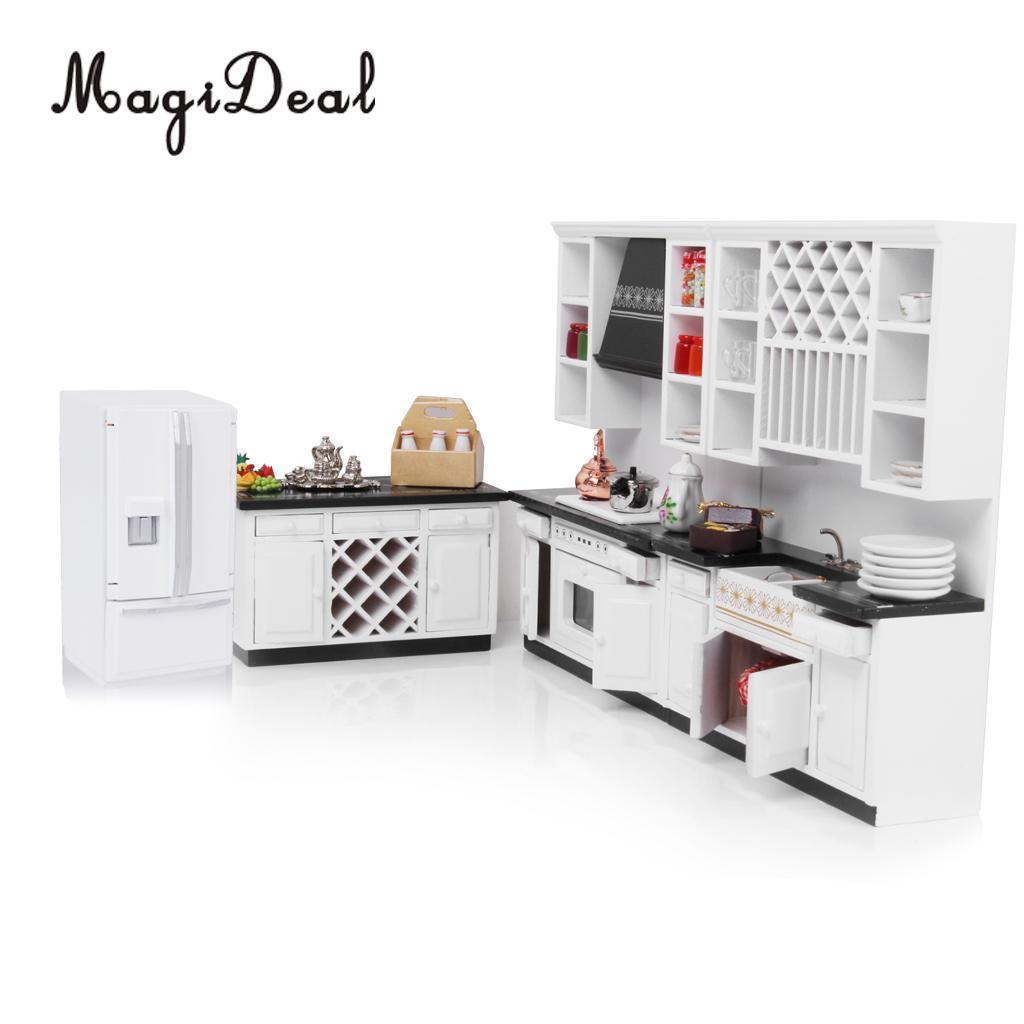 MagiDeal 1/12 Bois Dollhouse Miniature Meubles Réfrigérateur Réfrigérateur pour la Cuisine Maison Acce Enfants Jouer à Faire Semblant Jouet Mignon