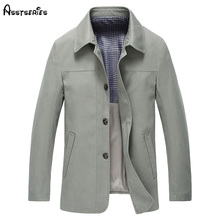2018 New Men Spring Autumn Mid Aged Lapel Cotton Single Breasted Jacket D120