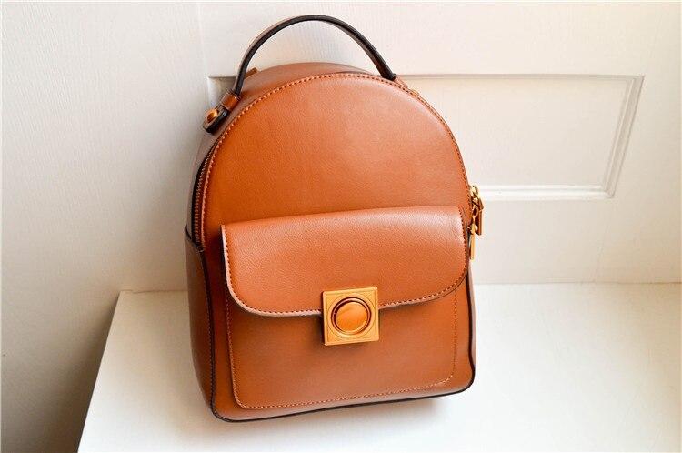 Mini clássico mulheres mochila divisão cor de retalhos de couro saco de escola