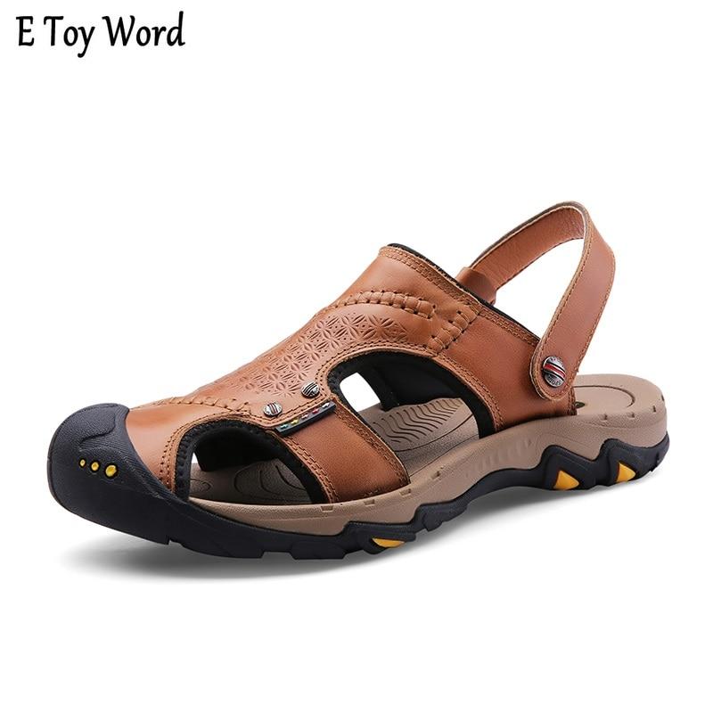 Mens Sandals Genuine Leather Summer 2018 New Beach Men Casual Shoes Outdoor Sandals Plus Size 38-44 Fashion shoes men