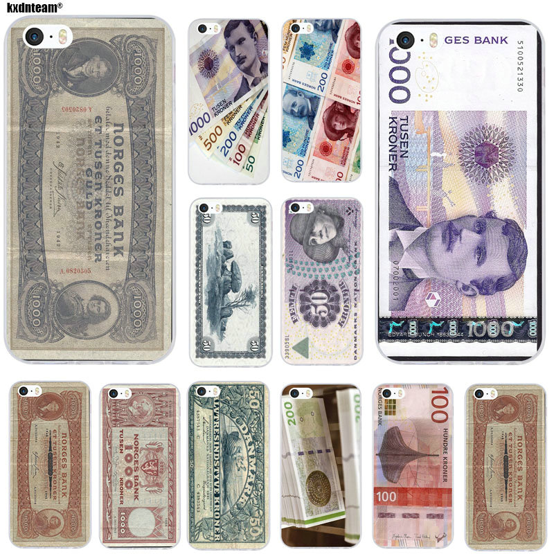 For IPhone 4 4S 5 5S 5C SE 6 6S 7 8 X Plus Coque Shell Soft Silicone TPU Transparent Phone Cases Design Danmark Danish Krone