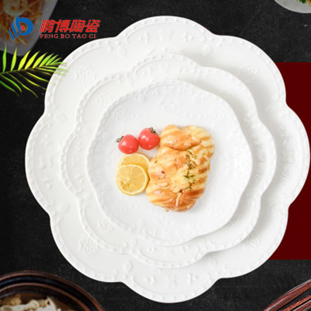 2016 Western-style Round White Buffet Plates Ceramic Party Plates Dinnerware 6/8/ & 2016 Western style Round White Buffet Plates Ceramic Party Plates ...