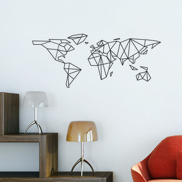 geometric world map wall stickers adhesive wallpaper vinyl. Black Bedroom Furniture Sets. Home Design Ideas