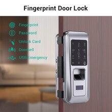цена на Biometric Fingerprint Door Lock Security Intelligent Electronic Lock Password RFID Unlock Door Lock Electronic Hotels Locks Kits