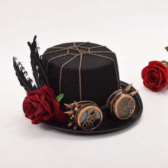 Шляпа в стиле стимпанк с очками в ассортименте вариант 5 4