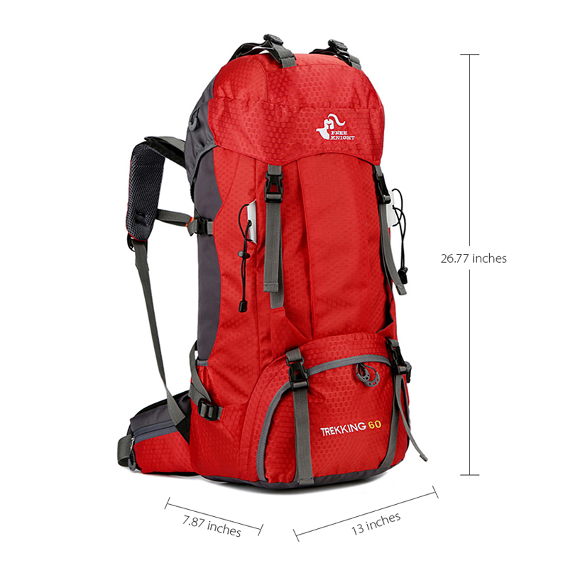 GYKZ 60L Men Climbing Camping Waterproof Backpack with Rain Cover Folding Outdoor Women Hiking Travel Backpack Breathable HY201