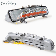Car Flashing 1 set For Ford Edge 2009-2014 Fog Cover 12V Car DRL LED Daytime driving Running Light car styling With Yellow Turn