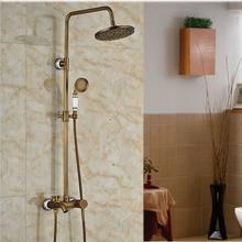 Brass Antique Bathroom 8 Rain Shower Mixer Faucet Set Single Handle with Handshower Complete Sets