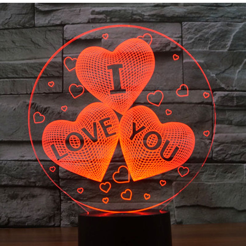 3D LED Night Light Valentine's Day gift I love you with 7 Colors Light for Home Decoration Lamp Amazing Visualization Optical i found you