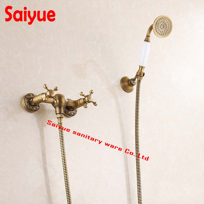 Lavatory Roman Tub Faucets Solid Brass Bathroom Fixtures Bath Shower Faucet  With Handheld Shower Antique Shower Holder In Wall In Shower Faucets From  Home ...