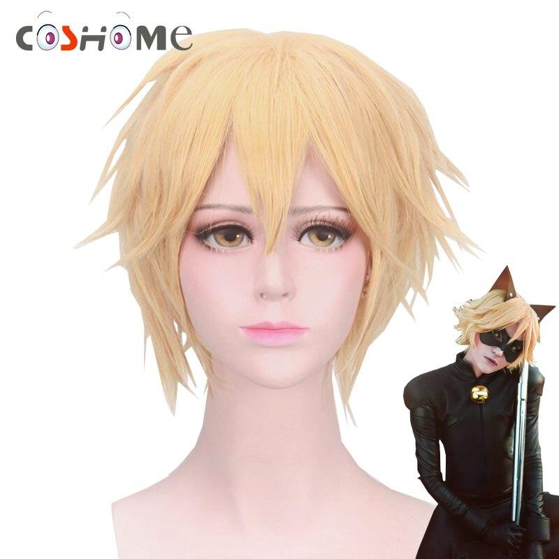 Coshome Miraculous Ladybug Wigs Adrien Black Cat Noir Cosplay Costume Wig Men Golden Short Hair