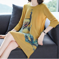 Aristocratic ladies dresses Issey Miyake pleated elegant loose straight large size peacock print Chinese style dress women
