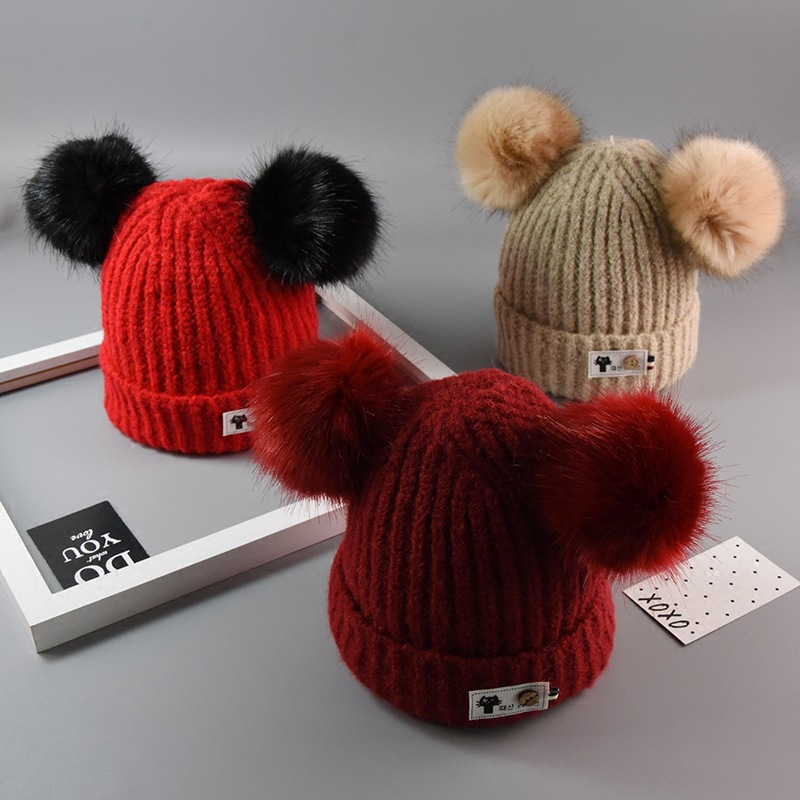 Baby boy girl hat Autumn and winter children thickening wool cap Korean version of the baby posted cat hat baby beanies cap
