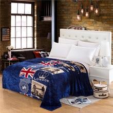 Британский флаг дизайн удобные элегантные Синий принт фланелевые мягкое воздухопроницаемое одеяло коралловый бросали простыни детские