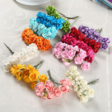 144Pcs 2cm Artificial Bouquets of Roses Paper Flowers Wedding Decoration DIY Wreath Collage