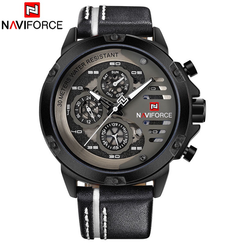 <font><b>NAVIFORCE</b></font> 2018 New China Brand Man Watches Luxury Sports Quartz Watch Rectangle Dials 30M Waterproof Auto Date Red Leather Band image