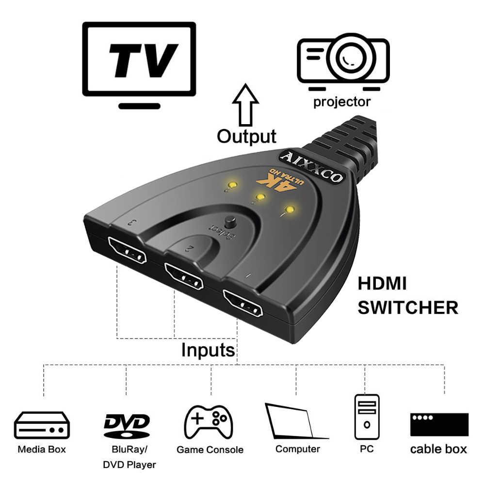 AIXXCO hdmi ハブ 3 ポート 1080 3D HDMI スイッチャースイッチスプリッタケーブルで PC の TV ハイビジョン DVD PS3 xbox 360 ケーブル