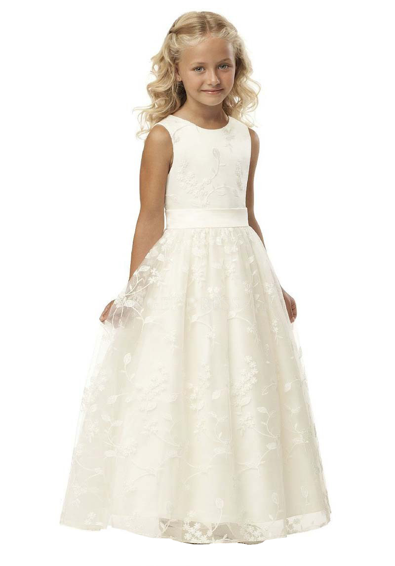 1a060d445668 A-Line Lace Flower Girl Dresses Floor Length Scoop Neck First Communion  Dresses Gown for