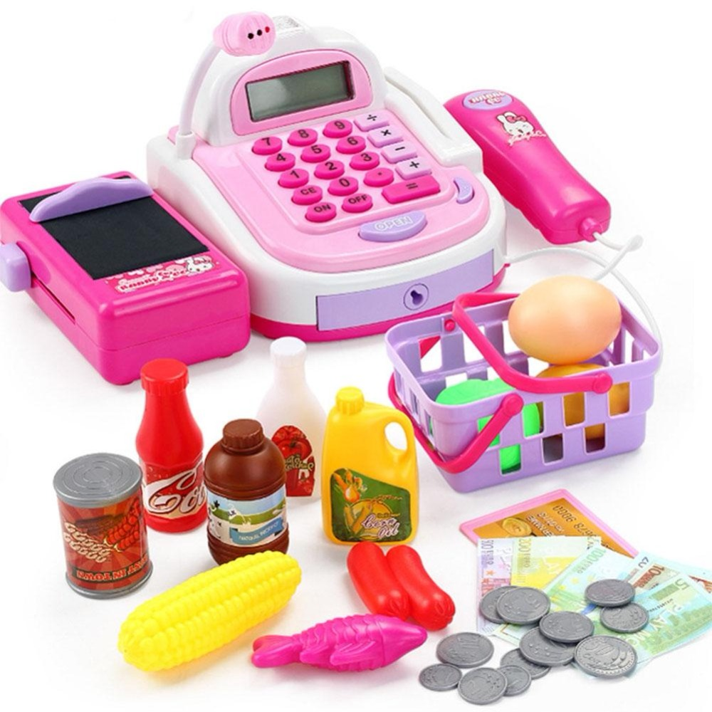TOYSEA Kids Plastic Cash Register Cashier Pretend & Play Children Early Educational Toy with Shopping Basket